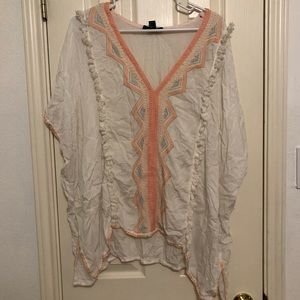 forever 21 patterned white blouse